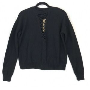 Do + Be sweater black lace up front long sleeve